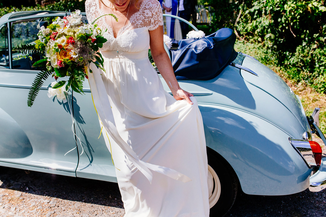 Alternative Kent wedding-photographer-boho-festival-bride-sussex-quirky wedding car