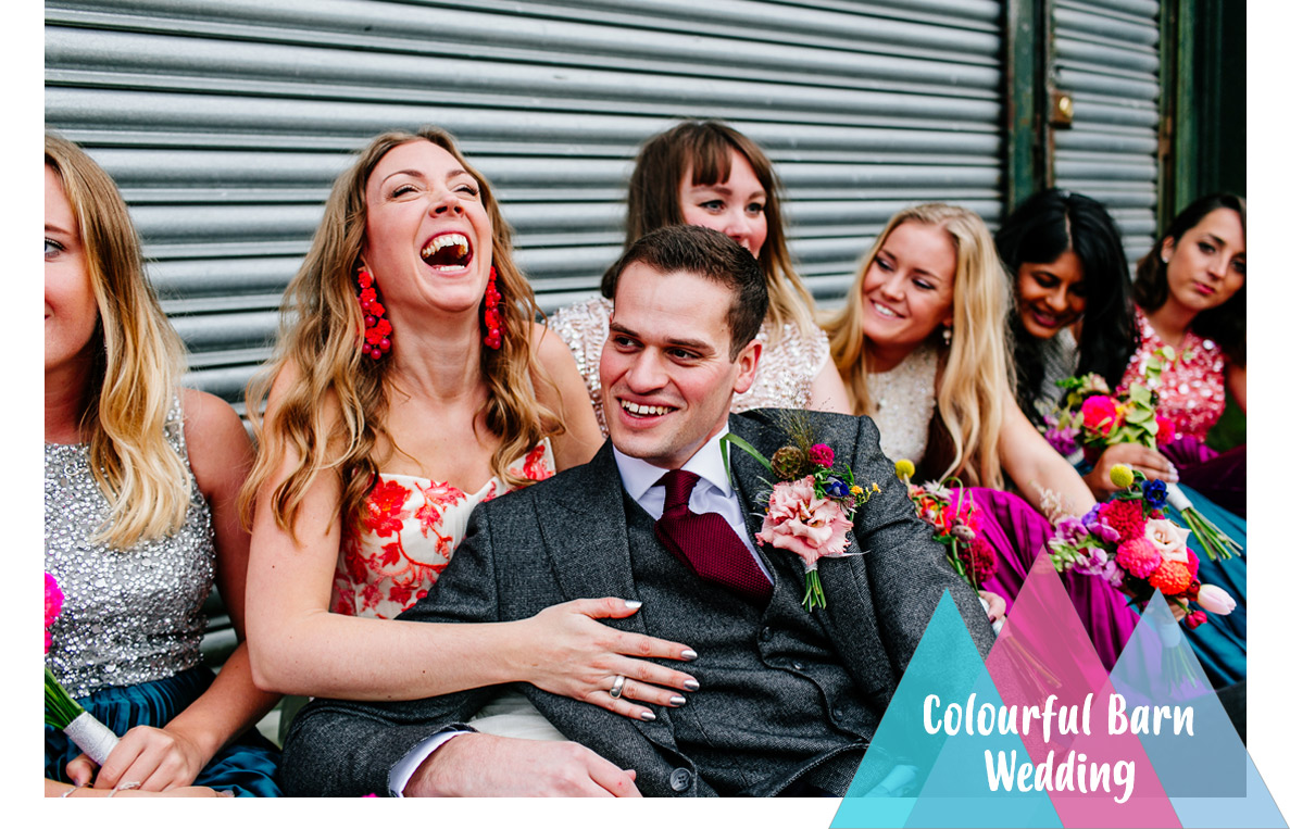 Quirky Colourful Sussex Upwaltham Barns wedding photographer