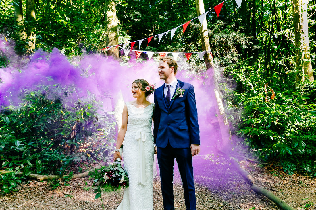 kent wedding photographer - smoke bomb portrait