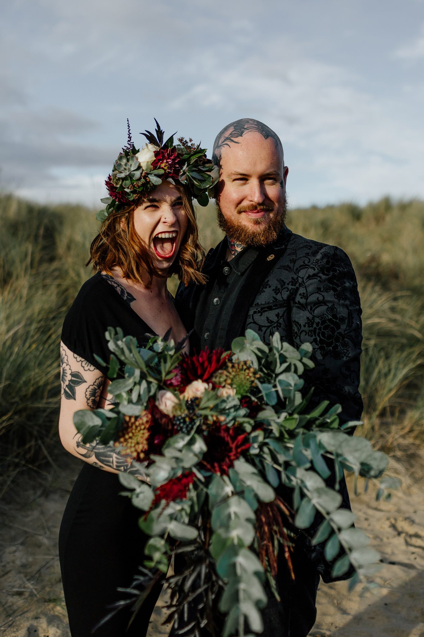 fun wedding photographer, gothic bride