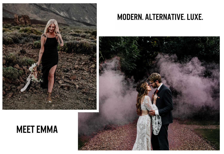 Modern, stylish, alternative wedding photography